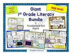 Giant 1st Grade Literacy Bundle: 5 Foundational Skill Packs! Enter for your chance to win.  Giant 1st Grade Literacy Bundle: 5 Foundational Skill Packs (177 pages) from Teacher Features on TeachersNotebook.com (Ends on on 8-20-2014)  SUPER POPULAR! Five popular products bundled together and offered at 30% off of the individual price! You can't go wrong.  - 1st & 2nd Grade Karate Compound Word Divide (48 pages) - Silent E Activities for Firsties (26 pages) - Digraph Activities: ...