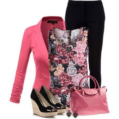 Printed Sleeveless Blouse & Black Trousers