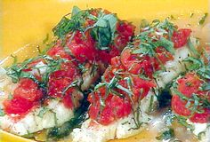 Poached Halibut with Tomato and Basil Recipe : Rachael Ray : Food Network - FoodNetwork.com