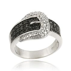 $24.99 - Black Diamond Accent Belt Buckle Ring in Sterling Silver
