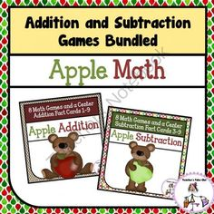 Addition and Subtraction Apple Games Bundled from Teachers Take Out on TeachersNotebook.com -  (50 pages)  - Apple Addition and Apple Subtraction Games Bundled