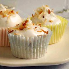 Chocolate Chip Angel Cupcakes with Fluffy Frosting ~ MyRecipes.com