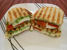 Grilled Cheese with Arugula Pesto & Roasted Red Pepper