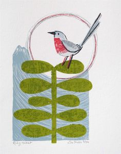 Ruby Throat ( in Nepal ) original screen print by Lisa Stubbs, proceeds of the sale of this print go to Yorkshire cancer centre.