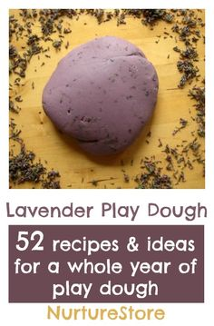 Lavender play dough, from The Homemade Play Dough Recipe Book. Recipes and play ideas for a whole year of activities. Great ideas for sensory and imaginative play, creating small worlds, art projects, and math and literacy activities.