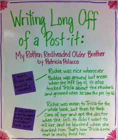 Anchor Charts--writing long off of a post it