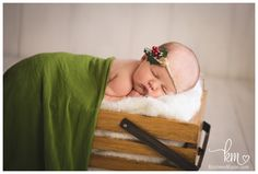 Christmas card idea for newborn picture - newborn Christmas picture - holiday card newborn - green and red