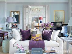 Purple accents. Design: Alexander Doherty. housebeautiful.com. #purple #living_room