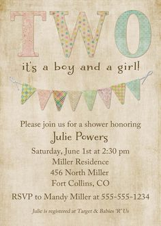 Twins Baby Shower Invitations, $13.00