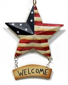 Primitive Americana barn star Welcome sign $2.49