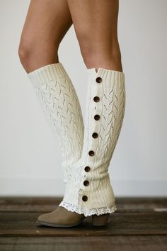 Ivory Knitted Leg Warmers, Button Up, Boot Socks, Knitted Ruffle Socks, Lace Trim Legwear Hosiery Knee Highs (LW-IVORYBU)