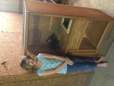 Upcycled entertainment center made in a rabbit hutch. (can we turn the picture around please?)