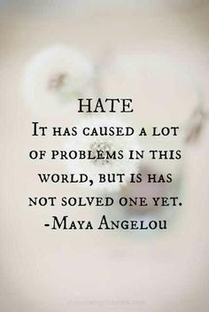"Why is she not speaking out about the hate surrounding the Martin / Zimmerman case. Is hate color blind ??  ""Hate - It has caused a lot of problems in this world, but it has not solved one yet."" (Maya Angelou) #truth"