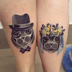 hate tattoo, couple tattoos, seal tattoo