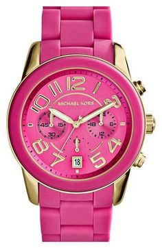 Pink! The perfect addition to a pink stacked wrist | watch by Michael Kors