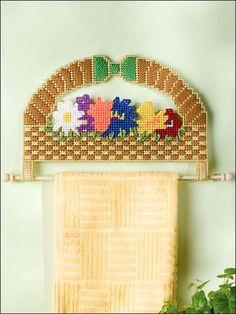 Plastic Canvas - Kitchen  Dining - Flower Basket Towel Holder