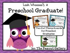 """This pack includes ten owl theme certificates for your preschool graduates. Each one says, """"Look Whooooo's a Preschool Graduate!""""   Each of the ten certificates is featured in two styles- with a color background and without. These work well as certificates or diplomas for the last day of preschool. ($)"""