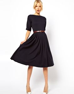Midi dress by ASOS Collection \n\n-\nMade from a soft, easy-care stretch jersey fabric\n\n-\nSlash neckline\n\n-\nTurn up cuffs\n\n-\nBelted high waist for an adjustable fit\n\n-\nPleats to the skirt\n\n-\nConcealed closure to the back\n\n-\nRegular fit\n\n\n\n ABOUT ASOS COLLECTION\n\nDirectional, exciting and diverse, the ASOS Collection makes and breaks the fashion rules. Scouring the globe for inspiration, our London based Design Team is inspired by fashion's most covetable trends; provid...
