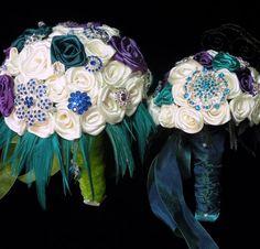 Peacock Purple & Teal Feathered Brooch by EleganceOnTheAvenue, $700.00