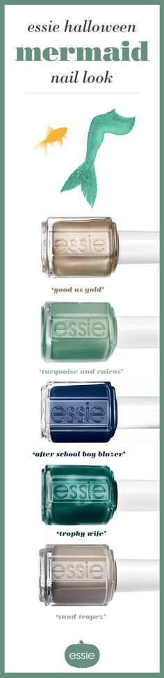 This Halloween take your look underwater with a mermaid costume that goes swimmingly well with these cool essie nail polishes. Shimmer in the sea with the solid shine of ???good as gold???, feel the coolness of ???turquoise caicos???, get into the depth of ???after school boy blazer???, feel the sophistication of ???trophy wife???, or dress up like the beach princess you are with ???sand tropez???. With so many fun shades, it???s easy to be a princess of the sea.