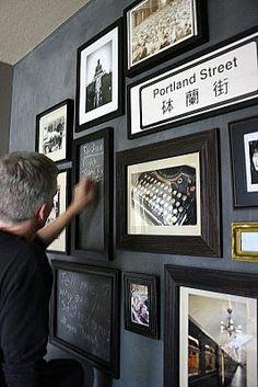 frames on chalkboard wall