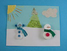 Plastic Lid Snowman Art Project- what a unique way to use bottle caps!