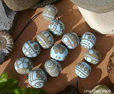 Lina Khan   Lampwork Beads: TARAJAL - Two Color Design ~ A Bead Set of sage and sky blue