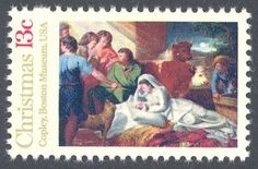 "1976_10_27 $.13 Featuring the then 200 year-old painting ""Nativity"" by John Singleton Copely, this traditional Christmas stamp was designed by Bradbury Thompson after the 1776 painting which is located in the Museum of Fine Arts, Boston Mass."
