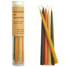 Hanukkah on Thanksgiving Candles  |  Harvest colored candles for the first two nights of Hanukkah, the second of which is #thanksgivukkah exclusive product of The Jewish Museum Shops