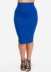 Royal Blue High Waist Pencil Skirt