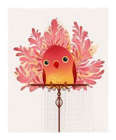 exotic birds, red birdi, mini print, bird of paradise, bird art