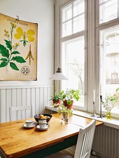 window, kitchen tables, breakfast nooks, botanical prints, botan print, dining nook, light