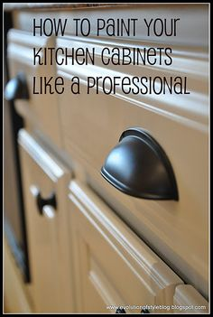 Great tutorial on how to paint your cabinets. Really need to paint my cupboards!
