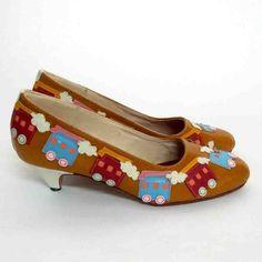 SALE Handmade Choo Choo Train shoes. $150.00, via Etsy.