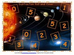$1.50 Outer Space Roll & Cover Addition & Subtraction Games!