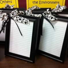 Frame notebook paper (or pretty solid color), hot glue a bow (if wanted), velcro a dry erase marker to the back ... viola, reusable, never ending note pad. Perfect for a To Do list for desk or kitchen or in kid's room for chore list. Great gift for teacher or coworkers.