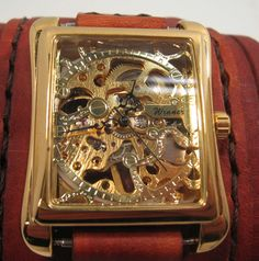Multi Layered Steampunk Wrist Watch Gold and Tan by FoxAndDragon.
