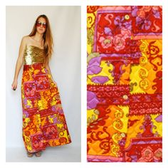 Maxi Skirt 1960s 60s Psychedelic Print Bright Bold Groovy High Waisted Waist Quilted Button Up Small Medium