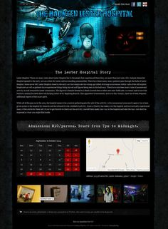The Haunted Lester Hospital single page website built on #Joomla 2.5. #halloween #hauntedhouse #attraction #event #webdesign webdesign