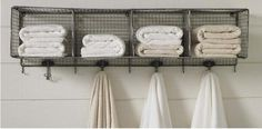 Spotted on Northern California–based organic linens company Coyuchi's site: a clever idea for keeping towels organized. A handy technique when houseguests arrive (just assign a number). pool areas, baths, towel racks, organ, guest bath, storage ideas, kid bathrooms, towels, towel storage