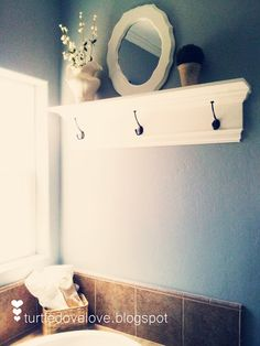 Shelf/Towel Rack, DIY Towel Rack & Shelf, Bathroom hook, bathroom decor, up-cycled mirror.