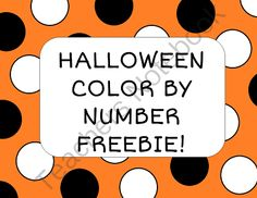 Halloween Color by Number Picture and Color Recognition Sheet FREEBIE! from Josie's Place on TeachersNotebook.com -  (4 pages)  - Learn color words and practice number recognition!