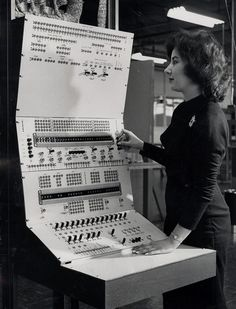 The console for the first fully automatic data processing system for the savings bank industry, being assembled and tested by The Teleregister Corporation for the Howard Savings Institution [1960]