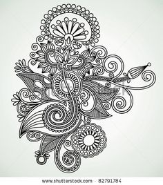 Hand draw line art ornate flower design. Ukrainian traditional style. - stock vector