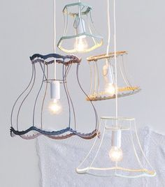 Cute! Old lampshade pendant lights. #lighting #decor #home