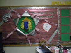 Sunday school bulletin board for christmas. Going to turn it and use it for a door covering.