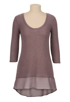 Chiffon Hem High-Low Tunic Top (original price, $29) available at #Maurices
