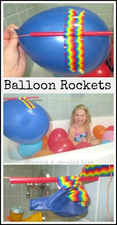 Balloon Rockets- a fun kids activity that doubles as a Science lesson. (Now that's FUN Science!) Use a pump and talk about transfer of muscle energy to balloon to provide propulsion/movement energy
