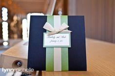wedding invitation. navy blue, green and white