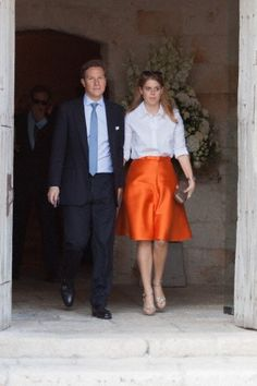 Princess Beatrice of York with her boyfriend Dave Clark were spotted at their friend Charlie Gilkes' wedding in Monopoli, Italy, 19.09.2014